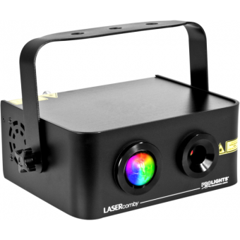 LASERCOMBY - Combo laser projector, 9 W RGB LED + green (40 mW), red (100 mW), DMX