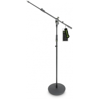 Gravity MS 2322 B - Microphone Stand with Round Base and 2-Point Adjustment Telescoping Boom