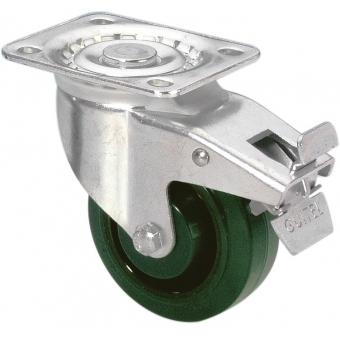 Guitel 37026 - Heavy Duty Swivel Castor 100 mm with green Wheel and Brake