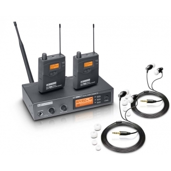 LD Systems MEI 1000 G2 BUNDLE - Wireless In-Ear Monitoring System with 2 x Belt Pack and 2 x In-Ear Headset