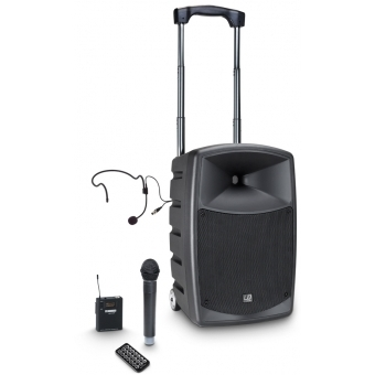 LD Systems ROADBUDDY 10 HBH 2 - Battery-Powered Bluetooth Speaker with Mixer, Wireless Microphone, Bodypack and Headset
