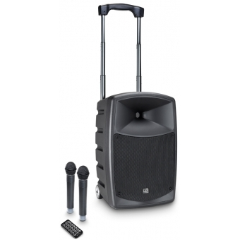 LD Systems ROADBUDDY 10 HHD 2 - Battery-Powered Bluetooth Speaker with Mixer and 2 Wireless Microphones