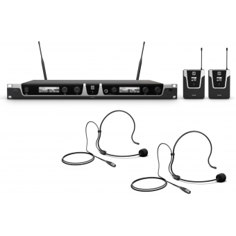 LD Systems U508 BPH 2 - Dual - Wireless Microphone System with 2 x Bodypack and 2 x Headset