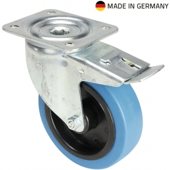 Tente 37036 - Swivel Castor 125 mm with blue Wheel and Brake