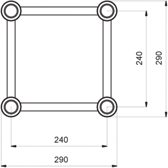 HQ30025B - Square section 29 cm HEAVY Truss, extrude tube 50x3mm, FCQ5 included, L.25cm,BK #3