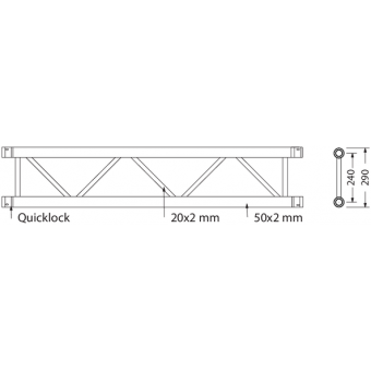 SF30200B - Flat section 29 cm truss, extrude tube 50x2mm, FCF5 included, L.200cm,BK #3