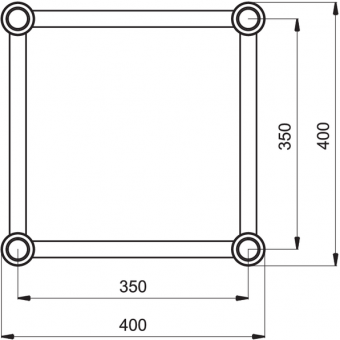 HQ40050B - Square section 40 cm Heavy Truss, extrude tube Ø50x3mm, FCQ5 included, L.50cm,BK #3
