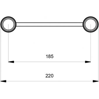 SF22C150V - Flat section 22 cm circle truss, tube 35x2mm, 4x FCF3 included, D150, Vert. #6