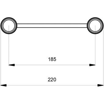 SF22C300H - Flat section 22 cm circle truss, tube 35x2mm, 4x FCF3 included, D.300, Horiz. #6