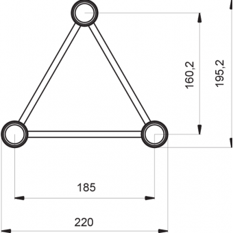 ST22C300E - Triangle section 22 cm circle truss, tube 35x2mm, 4x FCT3 included, D.300, V.Ext #4