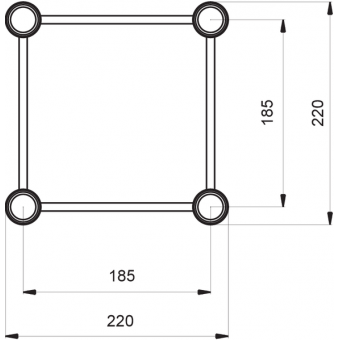 SQ22C200 - Square section 22 cm circle truss, tube 35x2mm, 4x FCQ3 included, D.200, #2