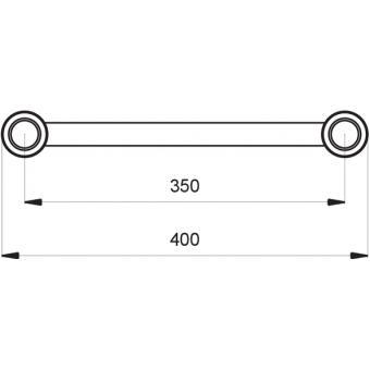 SF40C200HB - Flat section 40 cm circle truss, tube 50x2mm, 4x FCF5 included, D.200, Horiz.,BK #5