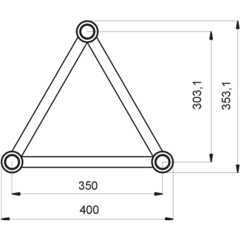 ST40C300UB - Triangle section 40 cm circle truss, tube 50x2mm, 4x FCT5 included,D.300,V.Up,BK #7