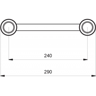 SF30T3HB - 3-way T joint for SF30 Series, extrude tube 50x2mm, 2x FCF5 included, Horiz., BK #5
