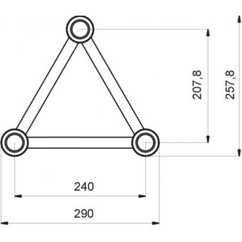 ST30L3RDB - 3-way L corner for ST30 Series, tube 50x2mm, 2x FCT5 included, Right, V.Down,BK #9