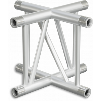 SF40X4VB - 4-way X joint for SF40 Series, extrude tube 50x2mm,2x FCF5 included,Vert., BK