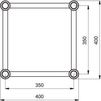 HQ40L2060B - Angolo 2vie compatibile truss HQ40, tubo corr. 50x3mm, FCQ5 incluso, 60°,BK #11