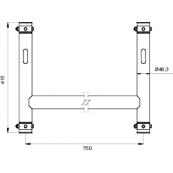 LF5H4175AL - 4-way H joint, 750x415mm, Ø 48,3mm, Connection kit included, 2,22kg, ALU #5
