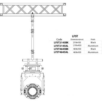 LF5T2145BK - 1-way T joint, Ø50mm, 1-pin self-locking nut, d. 220x4600mm, BK #6