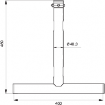 LF5T4645BK - 1-way T joint, 470x460mm, Ø 50mm, Connection kit included, 1,17kg, BK #5