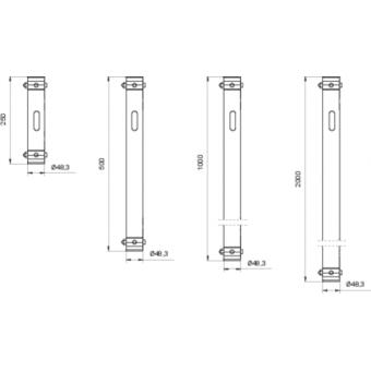 LF5P100AL - 2-way extruded tube, 2-pin self-locking nuts, 1000mm, AL #3