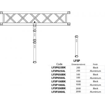 LF5P100BK - 2-way extruded tube, 2-pin self-locking nuts, 1000mm, BK #4