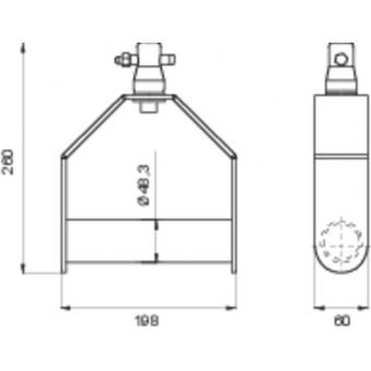 LF5B2519AL - Aluminium handle for mounting a single fixture, 188x260x60mm, AL #3