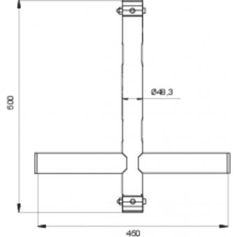 LF5X5046BK - 2-way X joint, Ø50mm, 2-pin self-locking nuts, 500x460mm, BK #3