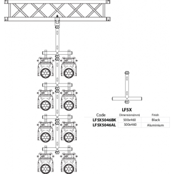LF5X5046BK - 2-way X joint, Ø50mm, 2-pin self-locking nuts, 500x460mm, BK #4