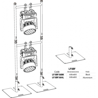 LF5BF58BK - Base plate compatible with extruded tubes Ø48,3mm, BK #3