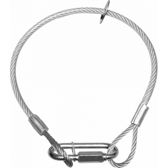 RSR0630A - Steel security cable for hanging bodies, inox steel shackle, L=60 cm, silver #5