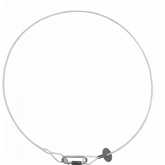 RSR1235A - Steel security cable for hanging bodies, inox steel shackle, L=120 cm, silver #3
