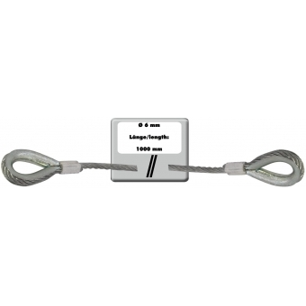 EUROLITE Steel Rope 1000x6mm silver with Thimble #3
