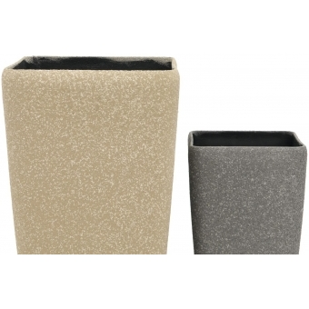 EUROPALMS Deco cachepot STONA-41, cubic, beige #4