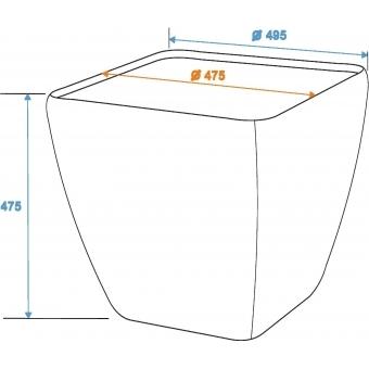 EUROPALMS Deco cachepot STONA-47, rectangular, grey #5