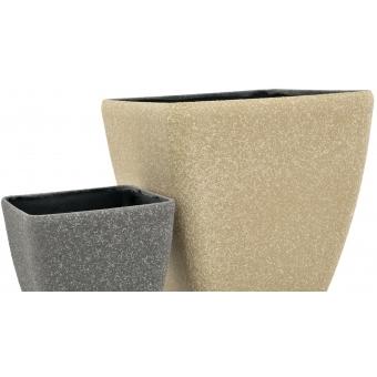 EUROPALMS Deco cachepot STONA-20, rectangular, grey #3
