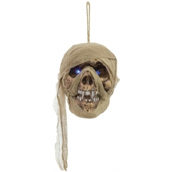 EUROPALMS Mummy skull with blue glowing eyes 15cm