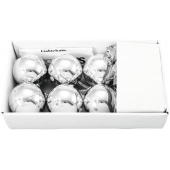 EUROPALMS LED Christmas Ball 6cm, silver 6x