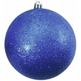 EUROPALMS Deco Ball 10cm, blue, glitter 4x