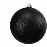 EUROPALMS Deco Ball 10cm, black, glitter 4x