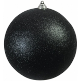 EUROPALMS Deco Ball 20cm, black, glitter